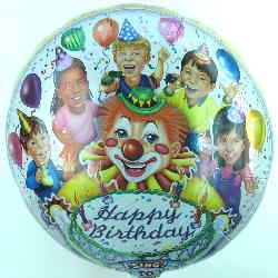 Clown singt Happy Birthday, Folienballon mit Musik