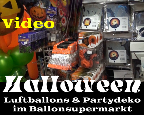Halloween Partydekoration und Monster Luftballons im Ballonsupermarkt: Video