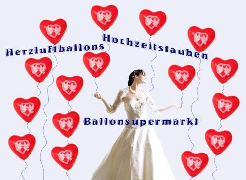 Herzluftballons und Hochzeitstauben